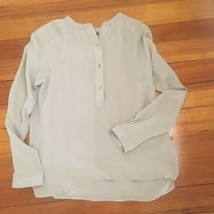 Vince Taupe Band Collar Blouse with Buttons